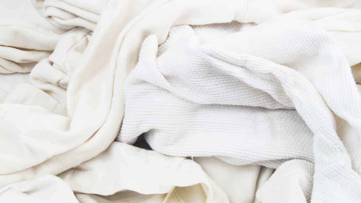 a pile of white old clothes