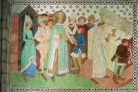 Väggmålning: Kung Erik varnas under gudstjänst