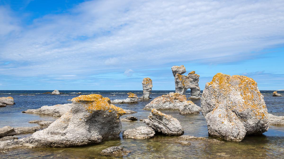 raukar - kalkstensformationer längs Gotlands kust.