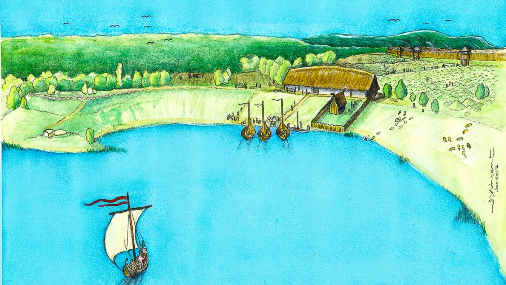 Den vikingatida gården sedd från norr. Rekonstruktionsteckning av Jacques Vincent.