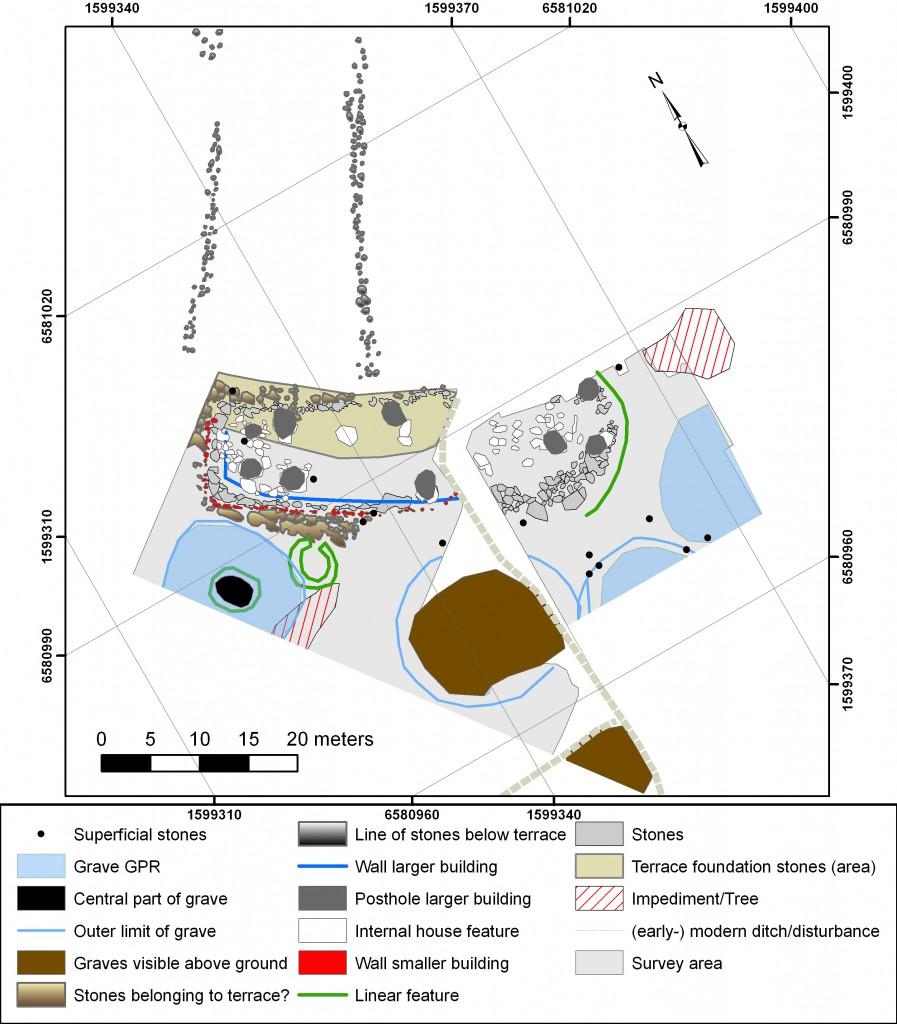 Rekonstruktion den vikingatida gården. Copyright Kalmring, Runer & Viberg.