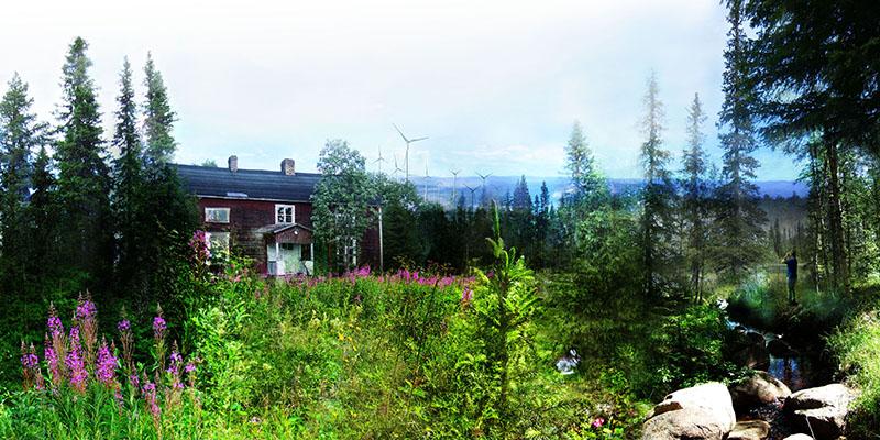 """""""Inlandet överges"""" kännetecknas av urbanisering, konflikter kring naturresurser, utboägande, likåldrig skog och kollagring. Fotomontage: Charlotta Gard"""