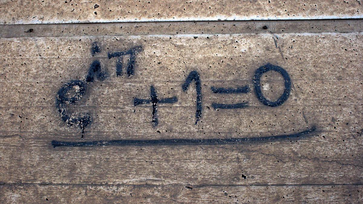 Den matematiska formeln för Euler's identitet. Bild: Quinn Dombrowski, Wikimedia Commons