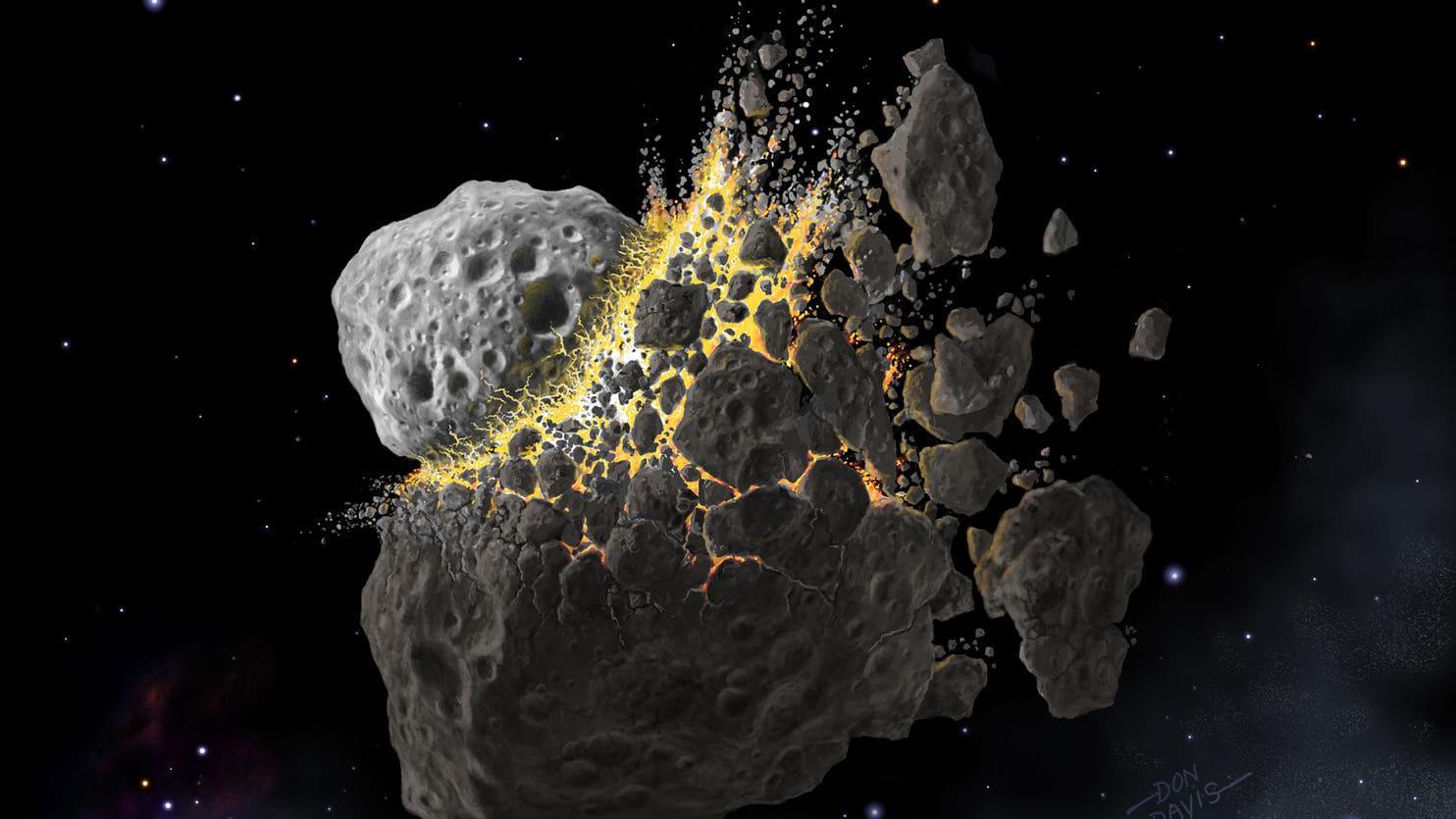 Konstnärlig tolkning av en asteroidkollision.