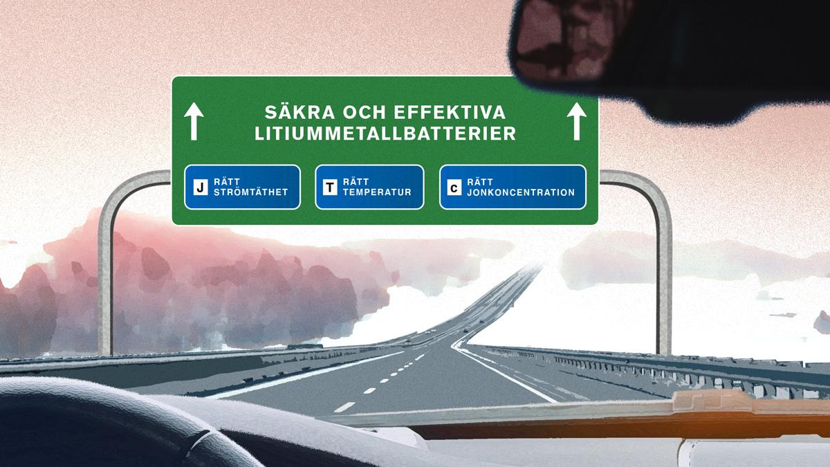 Illustrationen visar en vägskylt med tre olika skyltar som säger: Rätt strömtäthet, Rätt temperatur och Rätt jonkoncentration.