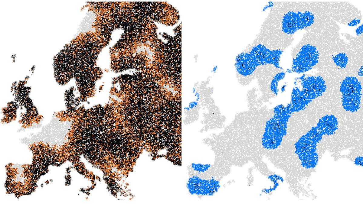 Bild som visar två Europakartor över ett simulerat utbrott av en pandemi.