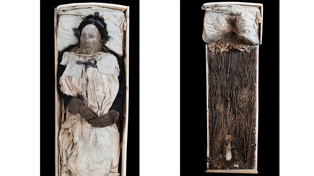 Peder Winstrup i sin kista och fostret som låg under hans ben.