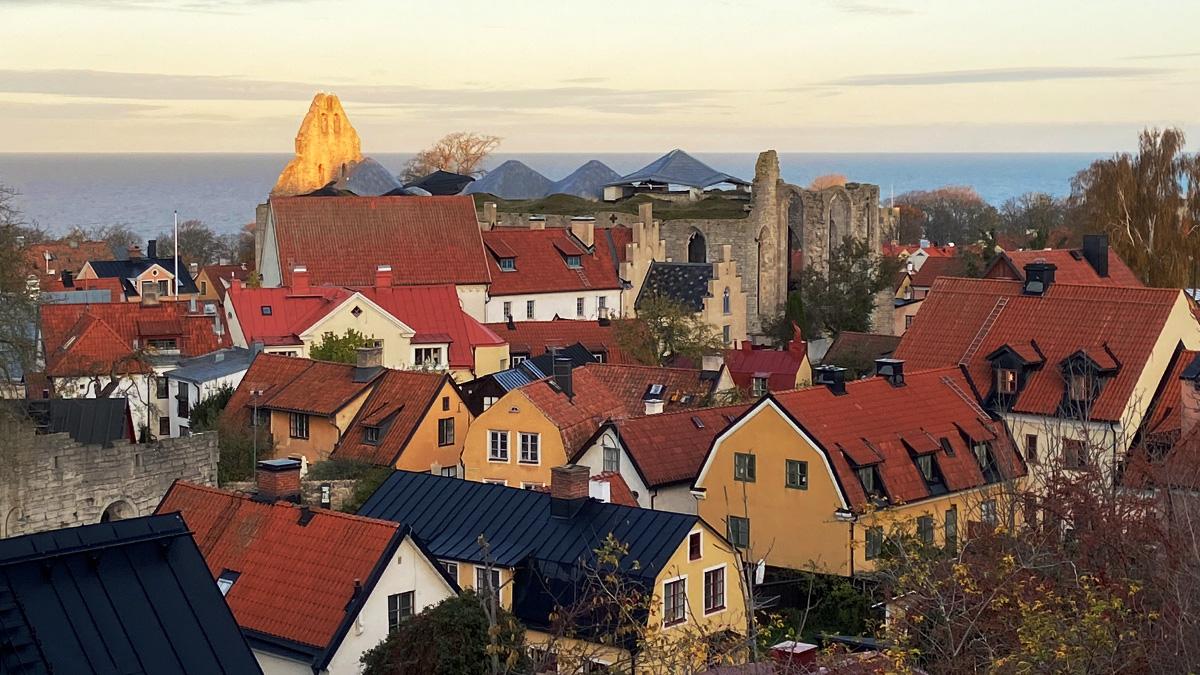 Bild över hustaken i Visby.
