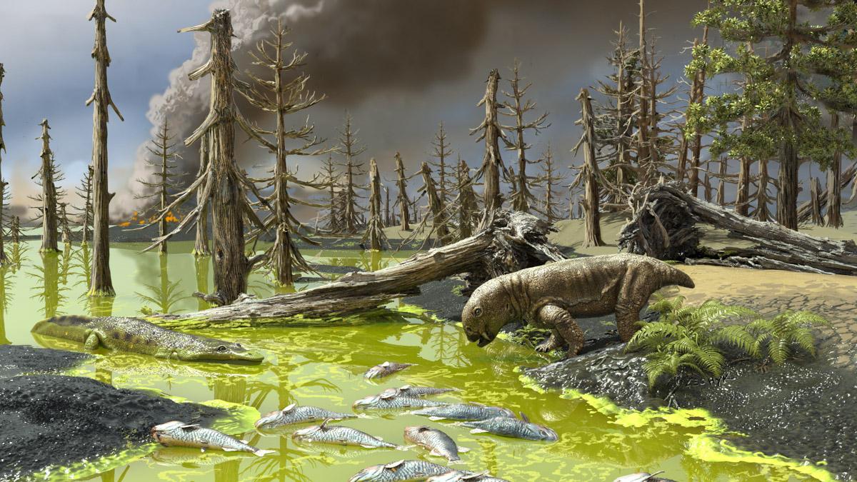 Illustration av urtida landskap med döda fiskar i en flod full av alger.
