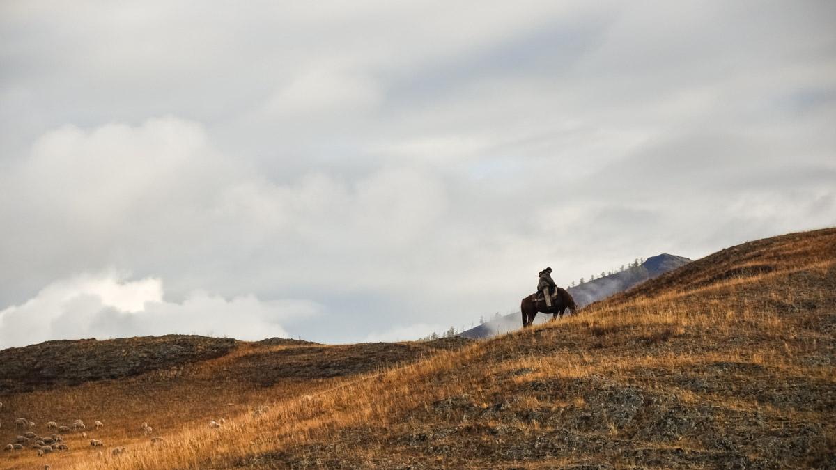 Ensam man på häst i torrt bergslandskap