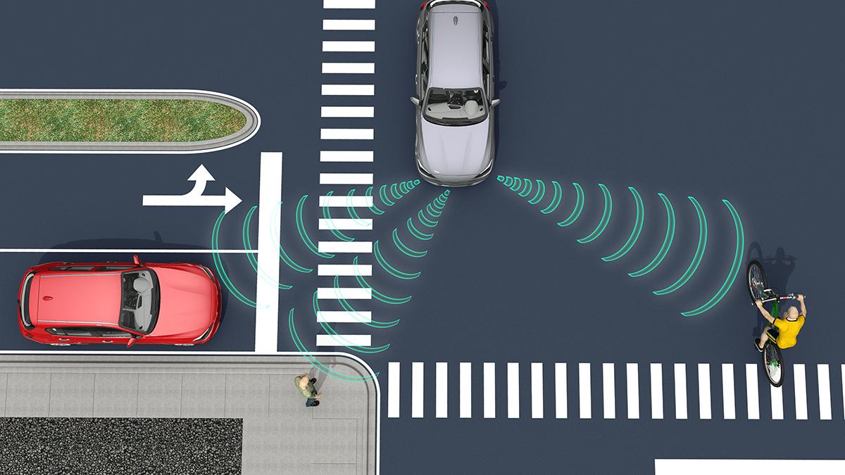 Datoranimering som visar en självkörande bil i en gatukorsning.